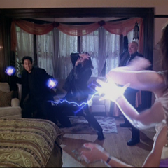 Piper throws a lightning bolt and the Demons throw Energy Balls.