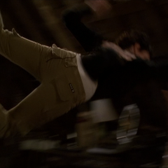 Phoebe flies across the attic as the Beast hits her, using Super Strength.