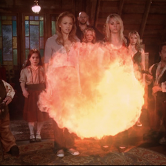 Christy creates a huge fireball, which Billie telekinetically moves towards the sisters.