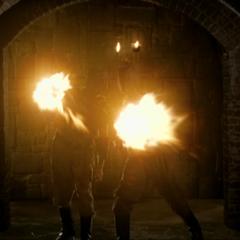 The Swarm Demons throw fireballs.