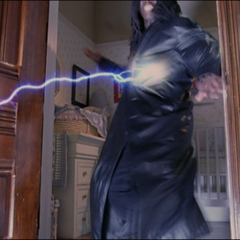 Piper attacks the Demon with a lightning bolt.