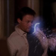 Leo gets hit by Odin's lightning bolt.