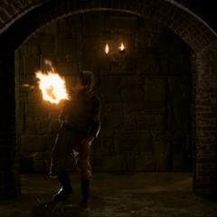 The Swarm Demon throwing a fireball.