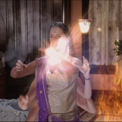Piper blows up an energy ball and Barbas flaming in.