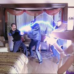 Piper shoots a lightning bolt.