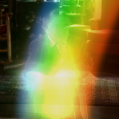 Andrew O'Brian rainbow teleporting out.