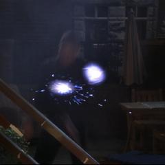 The sisters throw Energy Balls at Zohar, vanquishing him.