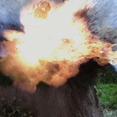 Tull destroys a rock.