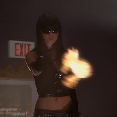 Billie deviates a second fireball.