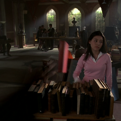 Gideon becomes visible as Sara flings another book back into the bookcase.