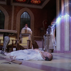 An Elder attacks Leo with another lightning bolt.