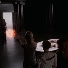 Billie telekinetically deviates the fireball.