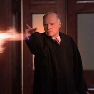 Judge throwing fire at the door