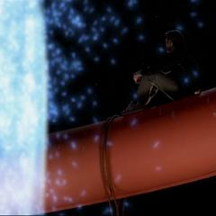 Leo orbs in on top of the bridge.