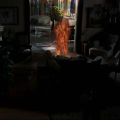 Paul Haas flaming in in the sitting room.