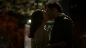 April and Dominic kissing