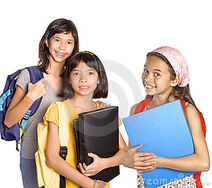 Young-girl-students-with-books-and-folders-thumb5460666