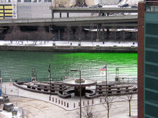 Chicago River dye travelling upstream