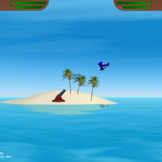 The debug console in <i>Island Wars 2</i>, the first game to have this feature. A preset message called