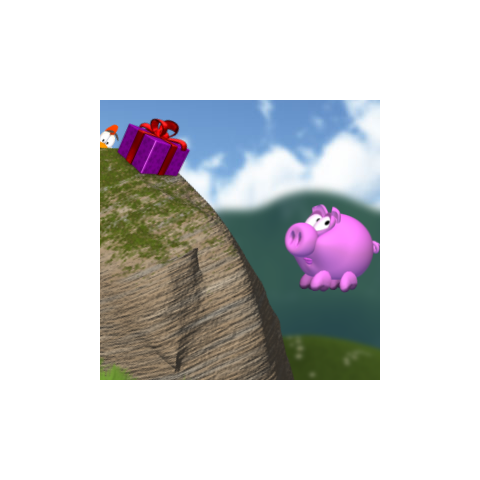 A Chicken peeking behind a rock in the first level of <i>Piggly</i>.