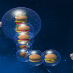 2 Droids with food in bubbles.