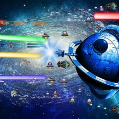 The Hero and Hen Solo with the assistance of 3 large ships battles the Event Horizon and it's troops