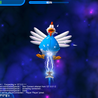 The debug console enabled in <i>Revenge of the Yolk</i>. The console here also logs certain stuff, such as connecting to a server, wave changes, etc.