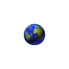 The Earth as seen in the first <i>Chicken Invaders</i> game. The colors of the land were strangely based on a topographical map of it.