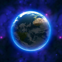 A bigger render of the <i>Revenge of the Yolk</i> Earth with the space background.