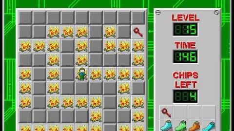 Chip's Challenge 1 level 15 solution - 89 seconds