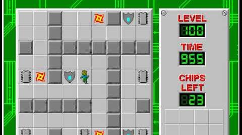 Chip's Challenge 1 level 100 solution - 910 seconds