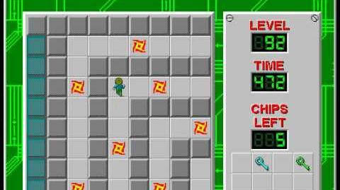 Chip's Challenge 1 level 92 solution - 444 seconds