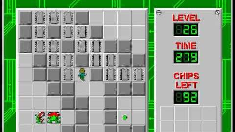 Chip's Challenge 1 level 26 solution - 254 seconds