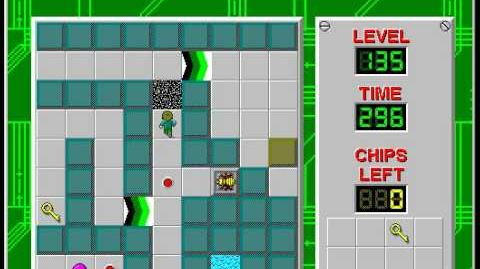 Chip's Challenge 1 level 135 solution - 293 seconds