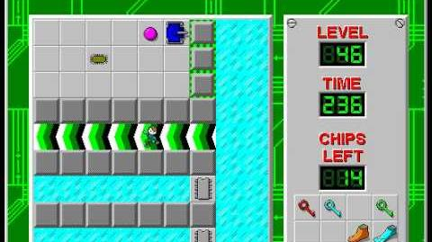Chip's Challenge 1 level 46 solution - 222 seconds