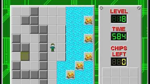 Chip's Challenge 1 level 18 solution - 553 seconds
