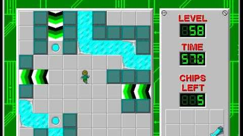 Chip's Challenge 1 level 58 solution - 550 seconds