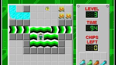 Chip's Challenge 1 level 3 solution - 89 seconds