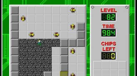 Chip's Challenge 1 level 82 solution - 969 seconds
