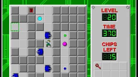 Chip's Challenge 1 level 20 solution - 340 seconds