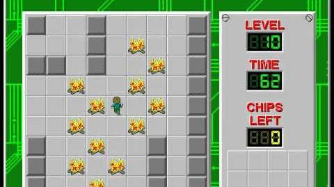 Chip's Challenge 1 level 10 solution - 51 seconds