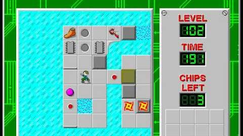 Chip's Challenge 1 level 102 solution - 177 seconds
