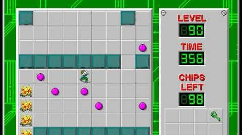 Chip's Challenge 1 level 90 solution - 318 seconds