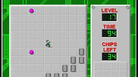 Chip's Challenge 1 level 17 solution - 83 seconds