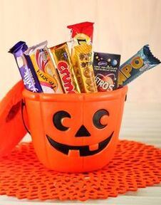 Halloween Candy in Bucket.
