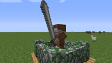 Skeleton wearing leather armor holding great sword