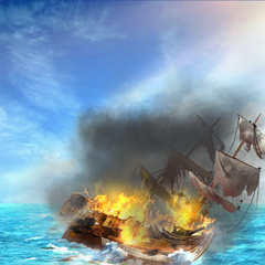 The <i>Poseidon's Revenge</i> on fire