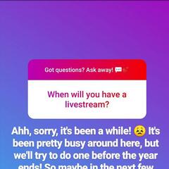 Update on upcoming livestream