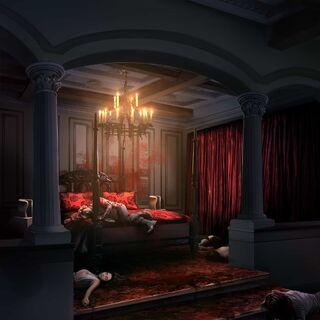 Bedroom in Rheya's mansion, full of corpses