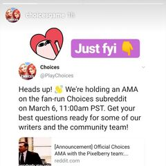 Announcement on Official Choices AMA on Choices subreddit